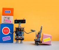 Special offer big sales discount promotion poster. Funny robot with shopping cart and boxes, discount advertising stickers. Yellow background copy space